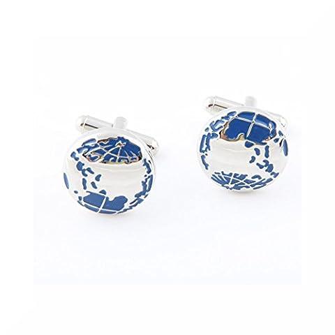 Silber & Blau Metallic Welt Manschettenknöpfe und Geschenkbox, Round, Regulär