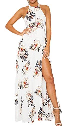 Donne elegante abito da cerimonia sera lungo schienale fascia vestito senza maniche estivo casual floreale fiori fantasia dress (m, white)