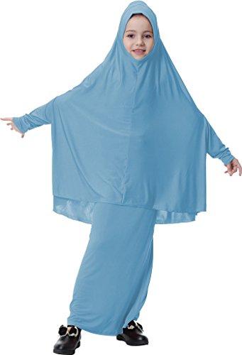 Ababalaya Muslimische Mädchen Modest Lange ärmel Maxi Party Prom Abaya Islamic Long kleid Hijab Two in One,Himmel Blau,M Geeignet für Höhe 110cm-130cm (Jersey Blauer Lange Ärmel Himmel,)