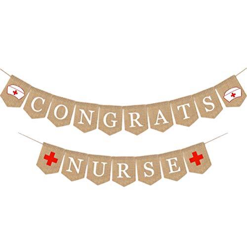Amosfun Congrats Krankenschwester Banner Krankenschwester Abschlussfeier Dekorationen für Graduation Medical School Hospital Party Supplies