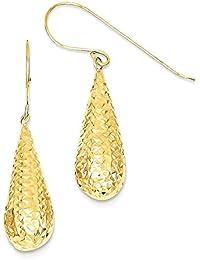 ICE CARATS 14k Yellow Gold Puff Tear Drop Dangle Chandelier Earrings Fine Jewelry Gift Set For Women Heart