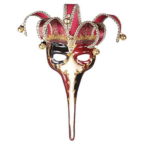 Robo Venezianische Maske Joker mit Nase Luxus Karneval Gesichtsmaske Vintage Maskerade Party Kostüm Halloween Fasching (Rot)