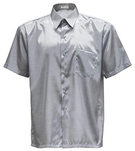 Herren Kurzarmhemd Thai Silk (Silber, M)