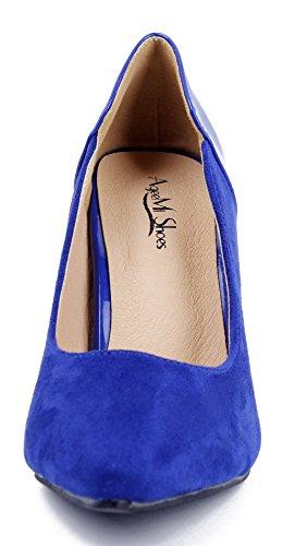 AgeeMi Shoes Damen Stiletto High Heels Pumps Spitz Wildleder Schuhe Pumps Dunkel Blau