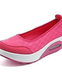 ZQ Zapatos de mujer-Tacón Cuña-Cuñas / Zapatos de Cuna-Mocasines-Exterior / Casual / Deporte-Tejido-Negro / Rosa...