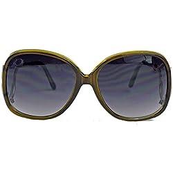 schöne 70er Jahre Damen Sonnenbrille Retro Butterfly Rahmen oversized Bügel gold HK70 (Oliv)