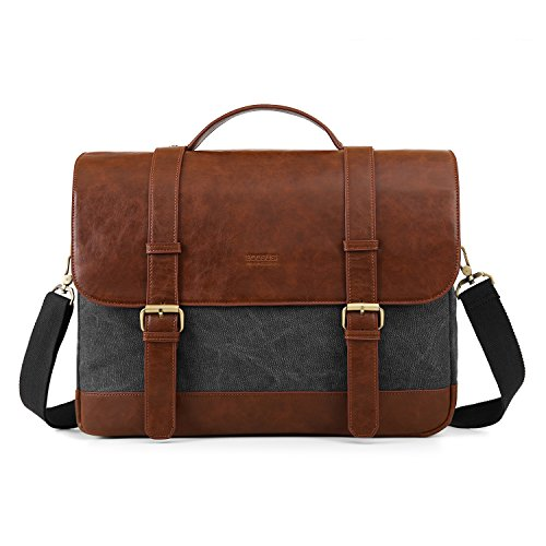 ECOSUSI Umhängetasche Herren Groß Laptoptasche für 15,6 Zoll Laptop Canvas Schultertasche mit Mehreren Taschen Grau
