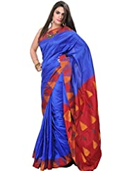 Exotic India Strong-Blue Plain Pure Silk Saree From Karnataka With Woven - Blue