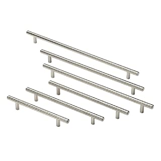 Handles & Ironmongery T Bar Handle Door Kitchen Cabinet Brushed From 99P -96Mm-156Mm-192Mm + More - 828Mm Long-758Mm Hole Centres