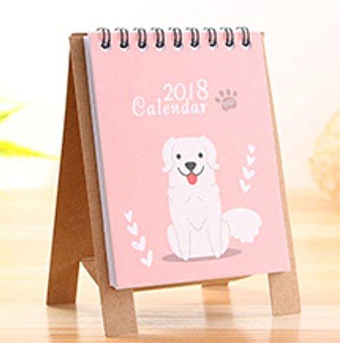 Kelaina Einfach Cartoon Hund Kalender niedlichen Cartoon Tier Schreibtisch Desktop Kalender Flip Stand Tisch Büro Planer (Pink)