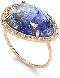 Celine d'Aoust Damen-Ring Roségold 14 k (585) Tansanit Blau Ovalschliff - Größe 50 (15.9)