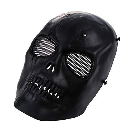 WHFDRHWSJMJ Halloween la Maschere LED Light Cosplay Costume Horror Maschera di Protezione Completa di Teschio di Maschera Airsoft Militare - Nero, A