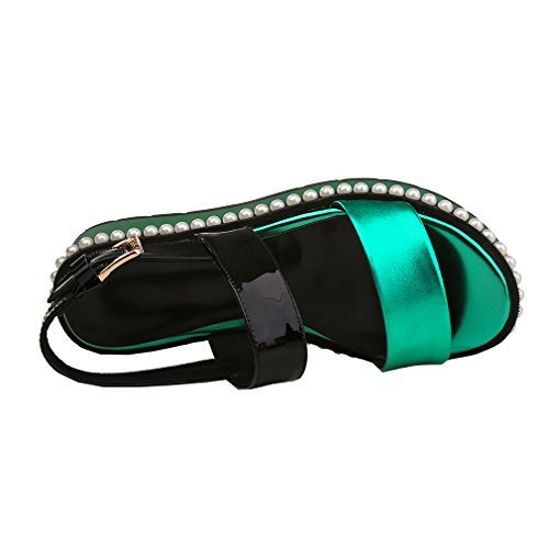 ENMAYER Bracelet à boucle pour femme ouvert Toe Robe à manches longues pour femme Chaussures plates Sandales Vert