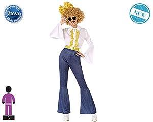 Atosa-61407 Atosa-61407-Disfraz Disco-Adulto Mujer, Color dorado, XS a S (61407