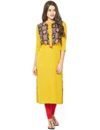 SareeShop Women Stitched Cotton Kurtis (L-Large && Yellow)