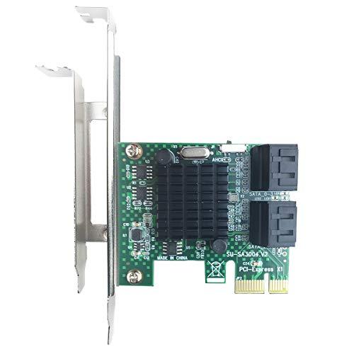 glotrends PCIe 2.0 zu SATA III Adapterkarte für IPFS Mining und Hinzufügen von SATA 3.0 Geräten SA3004 -