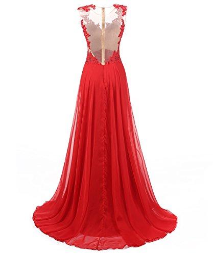 Dresstells, Robe de soirée Robe de cérémonie Robe de gala mousseline dentelle emperlée traîne moyenne Orange