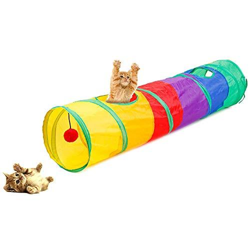 CHUER Katzen Hunden Spielzeug, Katzenspielzeug Hundenspielzeug Haustier Kleintier Spiel Tunnel Katzentunnel Faltbarer Spieltunnel für Hasen, Katzen, Hunde und Kleintiere