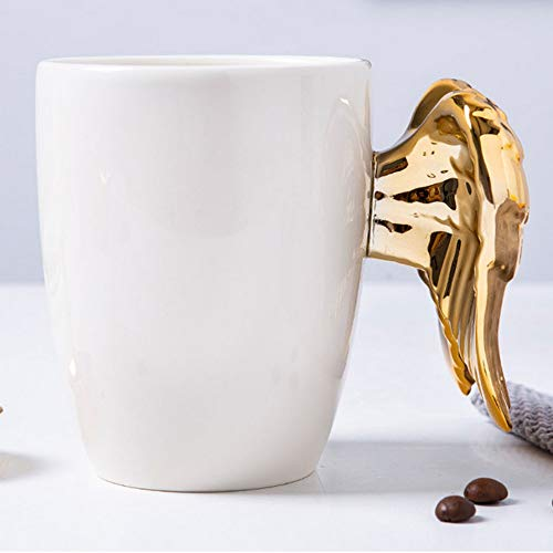 PORCN beer mugs Angel wings Coffee cup Gold cup Tea Milk cups Porcelain cups Large enamel travel mugs 3D Personal Office Cup 350ML, A