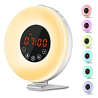 Wake Up Light, JVMAC Sveglia Luce con Simulazione Alba, Sveglia Luminosa/Touch Control e Caricatore USB,Luce Notturna Con 7 LED a Colori, 6 Allarmi, 10 Livelli di Luminosità