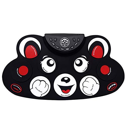 Kbabyokes E-Drum Roll Drum Pad Handrolle elektronische Trommel Kinder Kitty Kätzchenform tragbare ultradünne Silikonpedalübung,Red