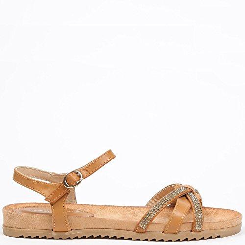 Ideal Shoes–Flache Sandale mit Gurten Asymmetrisches und Schmucksteinen galeane Braun - Camel