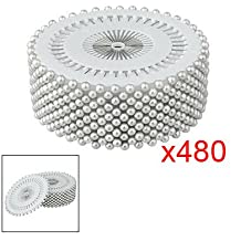 "TOOGOO (R) 480 x Alfiler Color Plateado 1.5"" de Largo 3mm Cabeza de Perla Plastico"