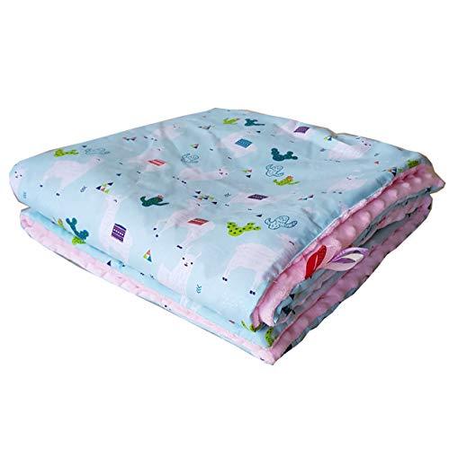 Minky Babydecke Kuscheldecke gefüllt Krabbeldecke Decke Super weich und flauschig Handarbeit Deutschland (Lama Rosa)