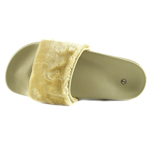 Kick Footwear - DONNA SLIPPER SLIP ON FLAT CURSORE MULI PELLICCIA CIABATTA SANDALI SCARPE Nudo