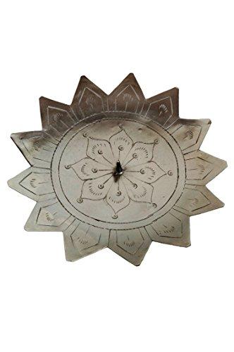Orientalischer Kerzenständer Kerzenhalter Silber Jaini Sternform 15cm Groß | Marokkanischer Metall Kerzenleuchter für Taufe, Kommunion, Hochzeit oder auf Gedeckter Tisch als Wohnzimmer Tischdeko