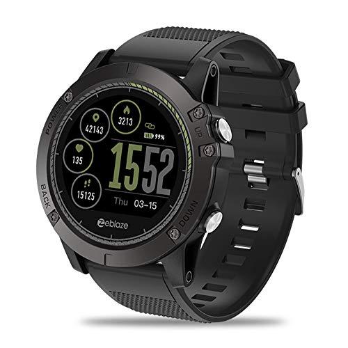 CITW Intelligente Uhr IP67 Wasserdichtes Tragbares Gerät Herzfrequenz-Detektor IPS-Farbdisplay Sport Smart Watch Kompatibles System Android 4.4 / Ios 8.0,Black