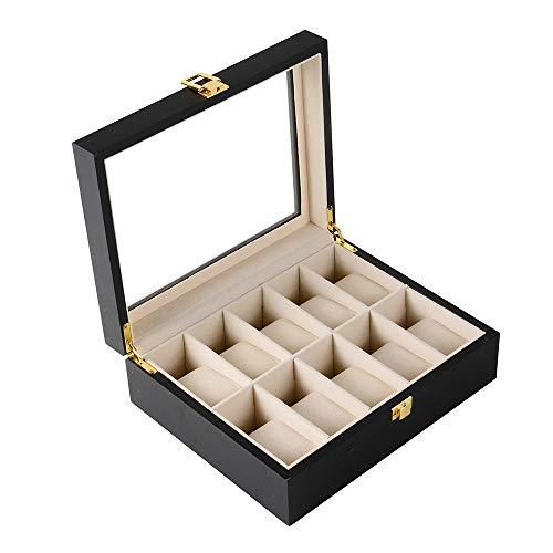 Uhrenbox für 10 Uhren Holz Abschließbar Uhrenkasten Glasdeckel Uhrenschatulle Schmuckkästchen Uhrenkoffer Uhren Schmuck Aufbewahrungbox für Herren Damen