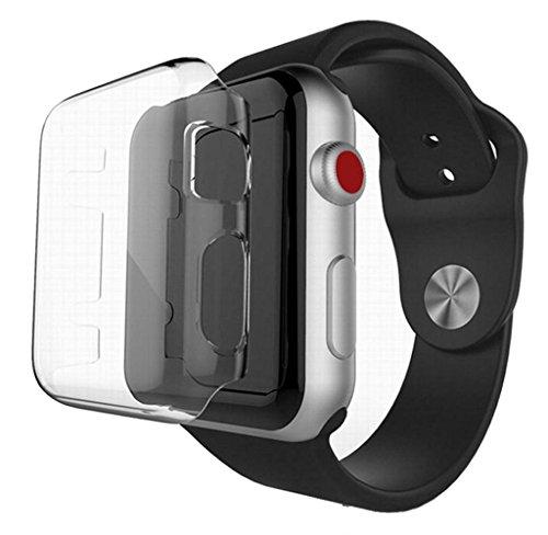 Amcool Apple Watch Serie 3 42mm/38mm Displayschutz dünn plattierte PC Hard Case Cover Hülle (42mm)
