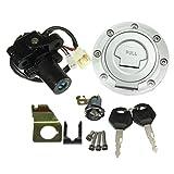 Republe Moto combustibile Metallo del carro Armato della Copertura della Protezione Blocchetto di accensione Interruttore di Blocco Set per Yamaha YZF R1 R6 FZ6 01-12