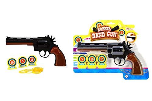 Toi-Toys 32026A Gummiband Pistole für Kinder Pistole Waffe Zielscheibe Pfeile Jungen Mädchen Kindergeburtstag Kinderspielzeug Spielzeug (Gummibänder Für Waffen)