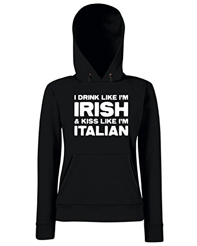 T-Shirtshock - Sweats a capuche Femme TIR0034 drink like irish kiss like italian dark tshirt Noir