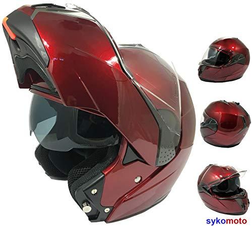 FULL FACE MOTORCYCLE HELMETS E335 INTEGRAL MODULAR MOTORCYCLE FLIP FRONT CRASH DOPPELSICHT ECE ZERTIFIZIERT CRUIZER MOTORRADHELM BURGUNDY M