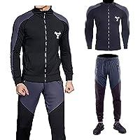 NO BRAND Ropa Casual Guo sigetu Hombres Trajes del Deporte de Secado rápido de Manga Larga Sportwear (Color : Black Grey, tamaño : XL)