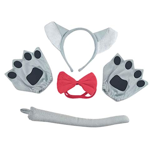Amosfun Wolf Kostüm Halloween Kostüme Kinder Cute Cartoon Kostüm Anzug Timber Wolf Stirnband Fliege Schwanz Handschuhe Set Performance Requisiten (Cute Halloween-kostüme Wolf)