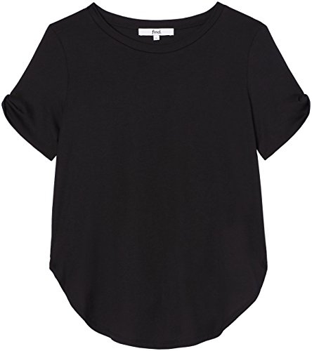 FIND Damen Cold-Shoulder-T-Shirt Schwarz (Black)