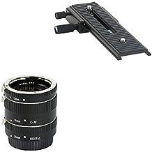 Impulsfoto - Kit de 3 tubos de extensión para macro y carril de enfoque de 2 vías para cámaras Canon EF / EF-S EOS 1200D, 1100D, 1000D, 700D, 650D, 600D, 550D, 500D, 450D, 400D, 350D, 300D, 100D, 70D, 60D, 50D, 40D, 30D, 20D, 10D, 7D, 6D, 5D Serie, 1D Serie, D60 y D30