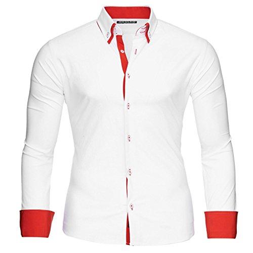 Reslad Herren Kontrast Langarm Hemd Alabama RS-7050 (S, Weiß-Rot)