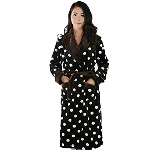 DMMSS Women's Bathrobes Coral Velvet Nightgown Thick Flannel Long Pajamas , black , xxxl