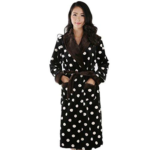 DMMSS femminile accappatoi velluto corallo camicia da notte spessi flanella pigiami lunghi , black , s