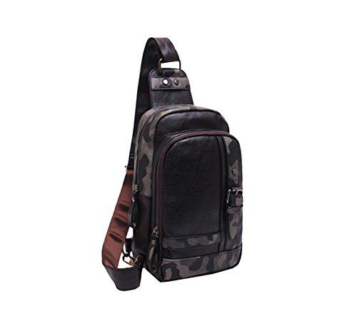 Yy.f Leder Herren Tasche Camouflage Outdoor-Sporttasche Lässige Brusttasche Aktentasche Leder Herren Tasche Student Umhängetasche (schwarz Und Braun) Brown
