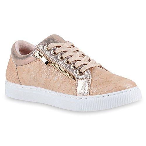 Moderne Damen Sneakers Lack Zipper Sportschuhe Freizeit Schuhe Rose Gold Snake