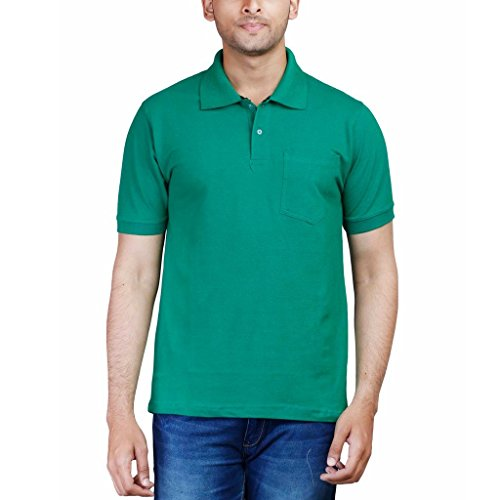 Fleximaa Men's Collar (POLO) T-Shirt With Pocket Green Color. Sizes : S-38, M-40, L-42, XL-44, XXL-46