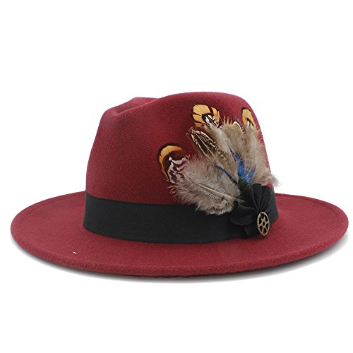 XACQuanyao Unisex Hut mit Feder Band, 100% Wolle breiter Krempe fühlte Trilby Fedora Hut für Womem Männer Winter Auturmn Kaschmir Gangster Kirche Hut (Farbe : 8, Größe : 57-59cm)