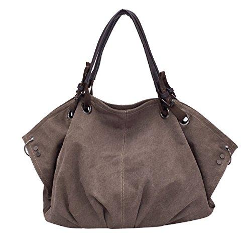 Butterme Sacchetto di spalla di tela di canapa grande borsa casuale di fine settimana di acquisto del sacchetto di Hobo della borsa di modo della borsa di modo Caffè
