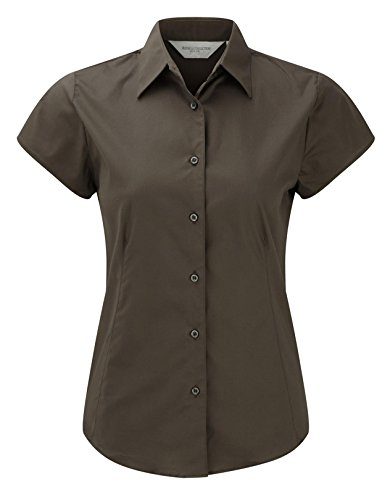 Russell Collection Womens Easycare Fitted Short Sleeve Shirt Chocolat